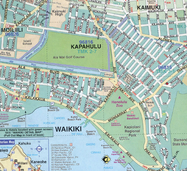 Waikiki Hotels Map Map of Waikiki