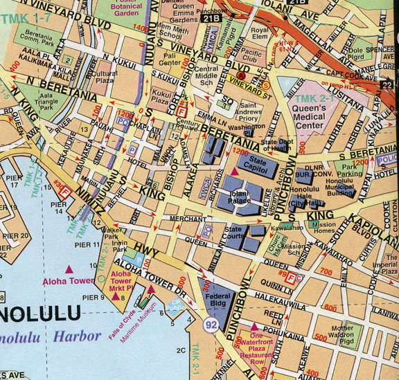 Downtown Honolulu Map
